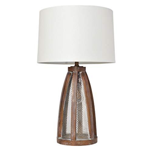 Elegant Designs LT3309 OWD Vintage Farmhouse Netted 2 Light Table Lamp Old Wood 0