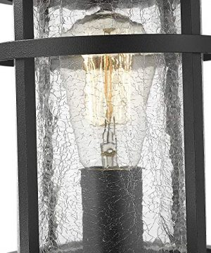 Emliviar 1 Light Outdoor Post Lantern Exterior Post Light Fixture In Black Finish With Crackle Glass A208510P1 0 0 300x360