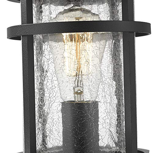Emliviar 1 Light Outdoor Post Lantern Exterior Post Light Fixture In Black Finish With Crackle Glass A208510P1 0 0