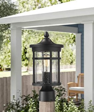 Emliviar 1 Light Outdoor Post Lantern Exterior Post Light Fixture In Black Finish With Crackle Glass A208510P1 0 1 300x360