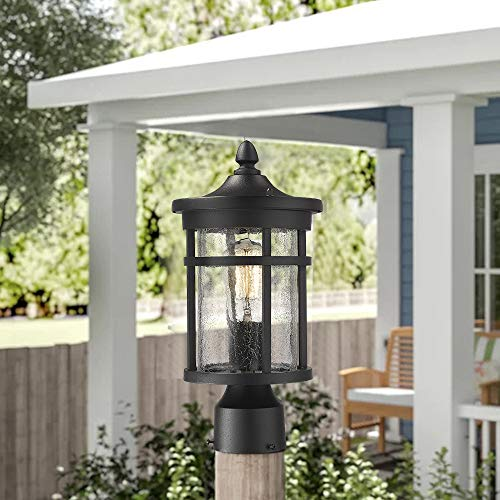 Emliviar 1 Light Outdoor Post Lantern Exterior Post Light Fixture In Black Finish With Crackle Glass A208510P1 0 1