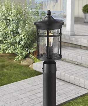 Emliviar 1 Light Outdoor Post Lantern Exterior Post Light Fixture In Black Finish With Crackle Glass A208510P1 0 2 300x360