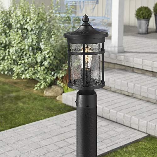 Emliviar 1 Light Outdoor Post Lantern Exterior Post Light Fixture In Black Finish With Crackle Glass A208510P1 0 2