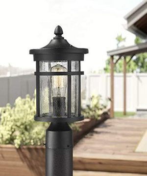 Emliviar 1 Light Outdoor Post Lantern Exterior Post Light Fixture In Black Finish With Crackle Glass A208510P1 0 3 300x360