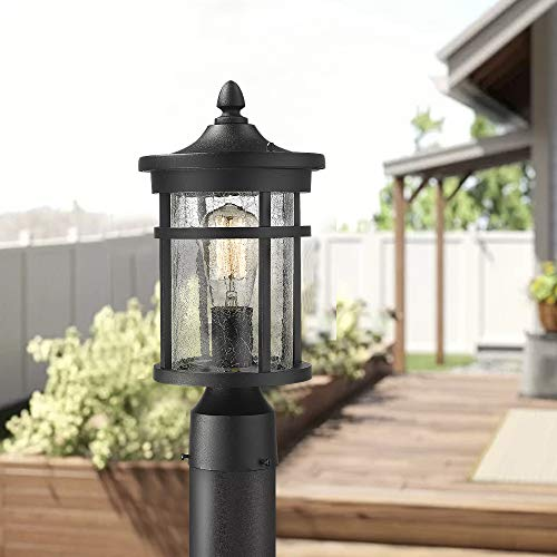 Emliviar 1 Light Outdoor Post Lantern Exterior Post Light Fixture In Black Finish With Crackle Glass A208510P1 0 3