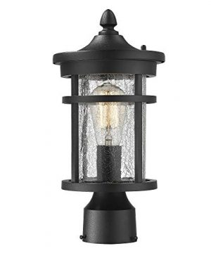 Emliviar 1 Light Outdoor Post Lantern Exterior Post Light Fixture In Black Finish With Crackle Glass A208510P1 0 300x360