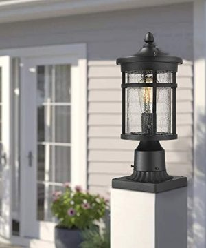 Emliviar 1 Light Outdoor Post Lantern Exterior Post Light Fixture In Black Finish With Crackle Glass A208510P1 0 4 300x360