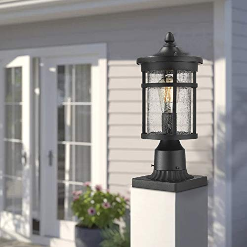 Emliviar 1 Light Outdoor Post Lantern Exterior Post Light Fixture In Black Finish With Crackle Glass A208510P1 0 4