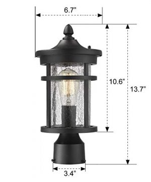 Emliviar 1 Light Outdoor Post Lantern Exterior Post Light Fixture In Black Finish With Crackle Glass A208510P1 0 5 300x360