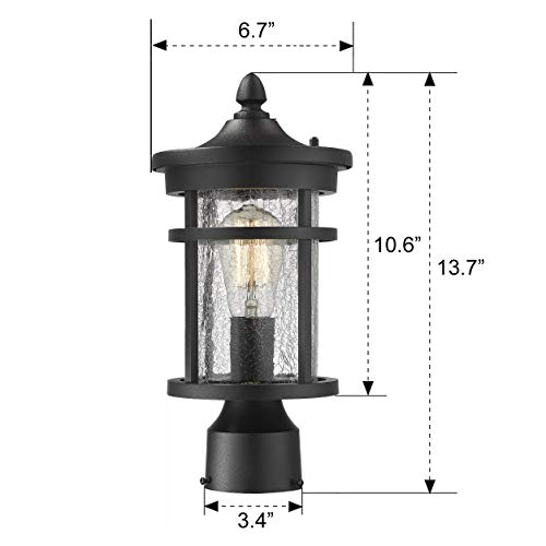 Emliviar 1 Light Outdoor Post Lantern Exterior Post Light Fixture In Black Finish With Crackle Glass A208510P1 0 5