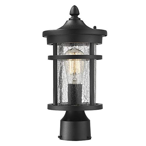 Emliviar 1 Light Outdoor Post Lantern Exterior Post Light Fixture In Black Finish With Crackle Glass A208510P1 0