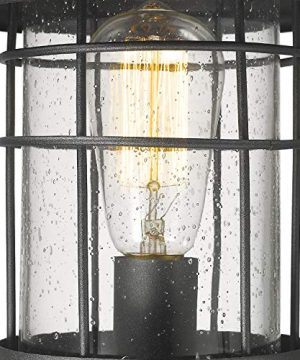 Emliviar 1 Light Outdoor Post Light Exterior Post Lantern In Black Finish With Seeded Glass 1803CW2 P 0 0 300x360