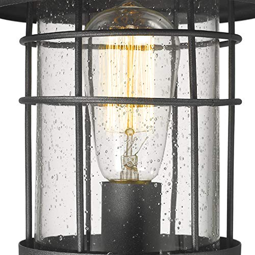 Emliviar 1 Light Outdoor Post Light Exterior Post Lantern In Black Finish With Seeded Glass 1803CW2 P 0 0