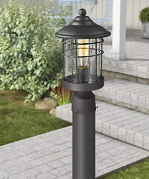 Emliviar 1 Light Outdoor Post Light Exterior Post Lantern In Black Finish With Seeded Glass 1803CW2 P 0 1 300x360
