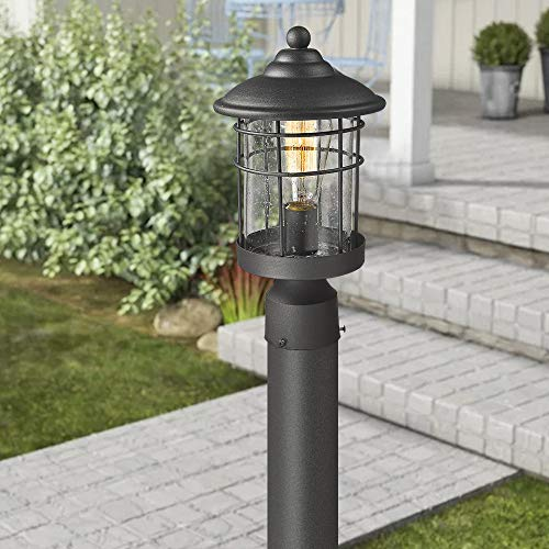 Emliviar 1 Light Outdoor Post Light Exterior Post Lantern In Black Finish With Seeded Glass 1803CW2 P 0 1