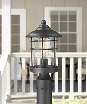 Emliviar 1 Light Outdoor Post Light Exterior Post Lantern In Black Finish With Seeded Glass 1803CW2 P 0 2 300x360