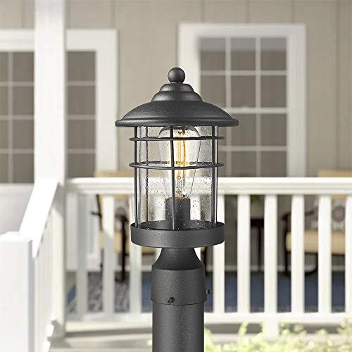 Emliviar 1 Light Outdoor Post Light Exterior Post Lantern In Black Finish With Seeded Glass 1803CW2 P 0 2