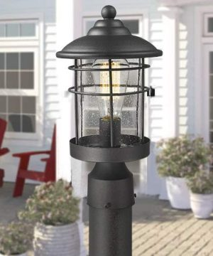 Emliviar 1 Light Outdoor Post Light Exterior Post Lantern In Black Finish With Seeded Glass 1803CW2 P 0 3 300x360