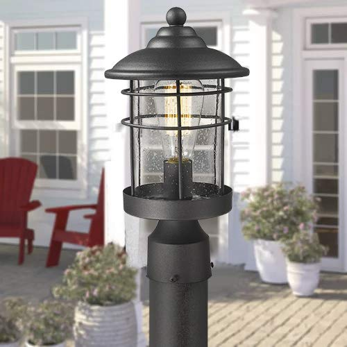 Emliviar 1 Light Outdoor Post Light Exterior Post Lantern In Black Finish With Seeded Glass 1803CW2 P 0 3