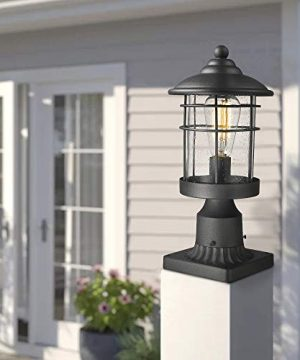 Emliviar 1 Light Outdoor Post Light Exterior Post Lantern In Black Finish With Seeded Glass 1803CW2 P 0 4 300x360