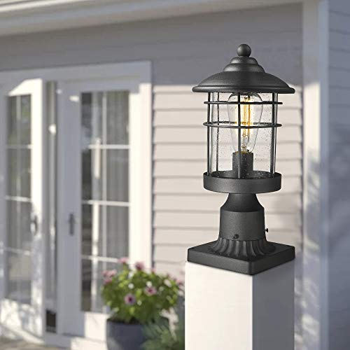 Emliviar 1 Light Outdoor Post Light Exterior Post Lantern In Black Finish With Seeded Glass 1803CW2 P 0 4