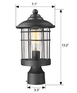 Emliviar 1 Light Outdoor Post Light Exterior Post Lantern In Black Finish With Seeded Glass 1803CW2 P 0 5 300x360