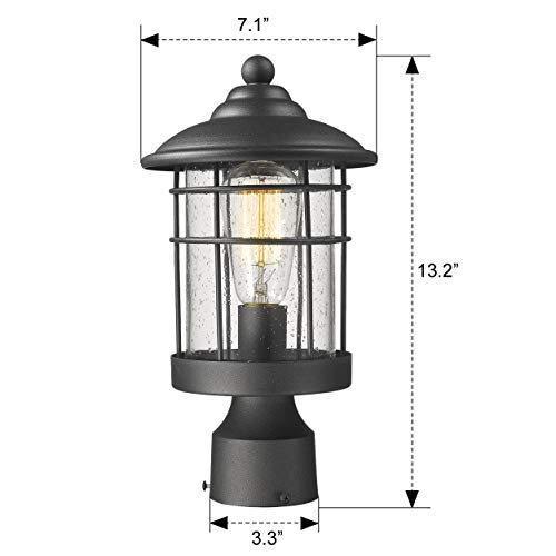 Emliviar 1 Light Outdoor Post Light Exterior Post Lantern In Black Finish With Seeded Glass 1803CW2 P 0 5