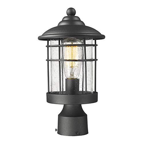 Emliviar 1 Light Outdoor Post Light Exterior Post Lantern In Black Finish With Seeded Glass 1803CW2 P 0