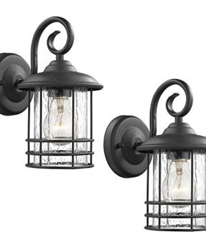 Emliviar 1 Light Outdoor Wall Lantern 2 Pack Exterior Wall Lamp Light In Black Finish With Clear Seeded Glass Twin Pack OS 1803CW1 0 300x360