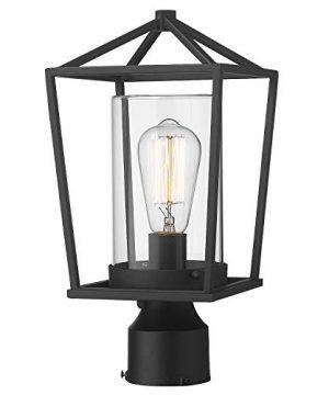 Emliviar Outdoor Light Post Lantern 1 Light Exterior Post Light In Black Finish With Clear Glass 20065P BK 0 300x360