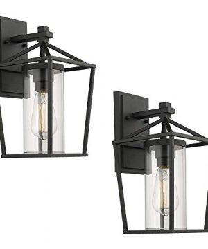 Emliviar Outdoor Porch Lights 2 Pack Wall Mount Light Fixtures Black Finish With Clear Glass 20065B1 2PK 0 300x360