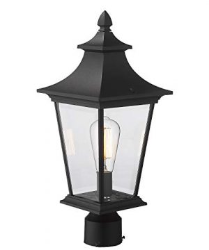 Emliviar Outdoor Post Light 1 Light 16 Inch Post Lantern In Black Finish With Clear Glass 500181 P BK 0 300x360