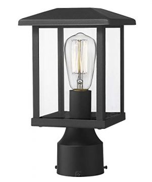 Emliviar Outdoor Post Light Fixtures 1 Light Exterior Post Lantern In Black Finish With Clear Glass 20064 P BK 0 300x360