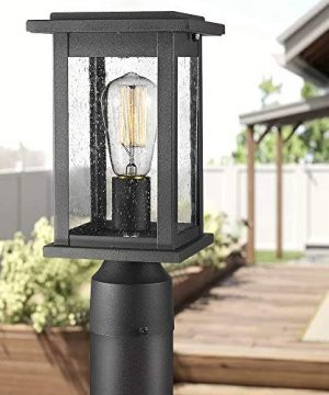 Emliviar Outdoor Post Light Fixtures 2 Pack Exterior Pillar Light In Black Finish With Seeded Glass 1803EW1 P 2PK 0 0 300x360