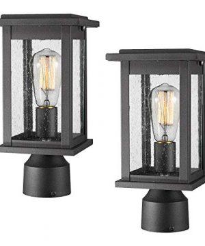 Emliviar Outdoor Post Light Fixtures 2 Pack Exterior Pillar Light In Black Finish With Seeded Glass 1803EW1 P 2PK 0 300x360