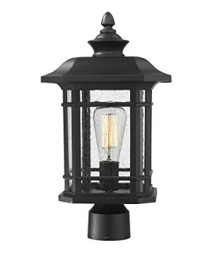 Emliviar Outdoor Post Lighting Fixture 17 Inch 1 Light Exterior Post Light In Black Finish With Seeded Glass A2202110P1 0 300x360