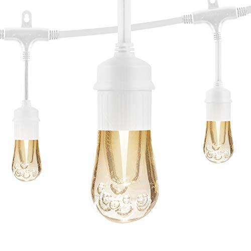Enbrighten Vintage LED Cafe String Lights White 24 Foot Length 12 Impact Resistant Lifetime Bulbs Premium Shatterproof Weatherproof IndoorOutdoor Commercial Grade UL Listed 35646 0