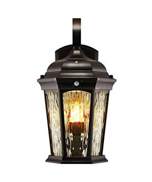 Euri Lighting EFL 130W MD Flickering Flame Lantern Water Glass With Integrated Security Light 3000K Photocell And Motion Sensor Dusk To Dawn Oil Rubbed Bronze Housing 0 300x360