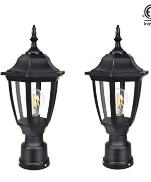 FUDESY 2 Pack LED Outdoor Post Light FixturesPlastic Black Post Lanterns With 8W 1200LM Edison Filament BulbCorded Electric FDS2543B 0 300x360