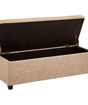 First Hill Damara Lift Top Storage Ottoman Bench With Fabric Upholstery Bistro Biscuit 0 0 300x360