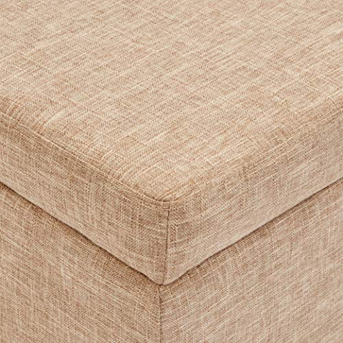First Hill Damara Lift Top Storage Ottoman Bench With Fabric Upholstery Bistro Biscuit 0 2