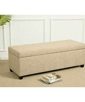 First Hill Damara Lift Top Storage Ottoman Bench With Fabric Upholstery Bistro Biscuit 0 4 300x360
