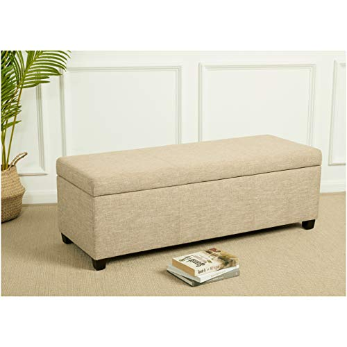 First Hill Damara Lift Top Storage Ottoman Bench With Fabric Upholstery Bistro Biscuit 0 4