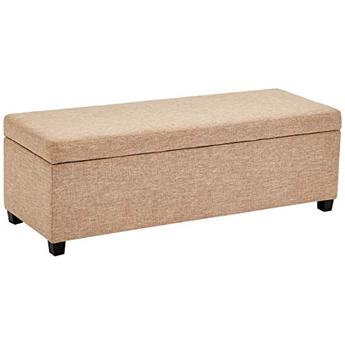 First Hill Damara Lift Top Storage Ottoman Bench With Fabric Upholstery Bistro Biscuit 0