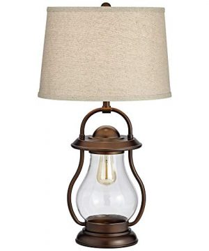 Fredrik Rustic Industrial Farmhouse Table Lamp With Nightlight Antique Edison Style LED Bronze Lantern Burlap Tapered Drum Shade For Living Room Bedroom Nightstand Office Franklin Iron Works 0 0 300x360