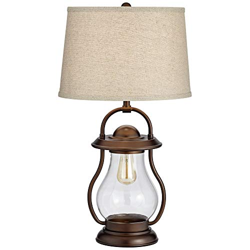 Fredrik Rustic Industrial Farmhouse Table Lamp With Nightlight Antique Edison Style LED Bronze Lantern Burlap Tapered Drum Shade For Living Room Bedroom Nightstand Office Franklin Iron Works 0 0