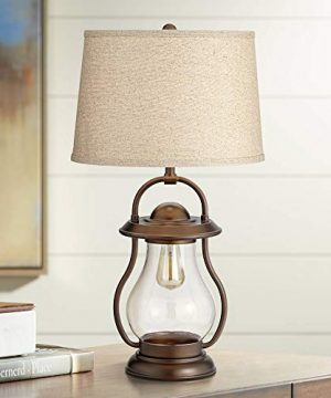 Fredrik Rustic Industrial Farmhouse Table Lamp With Nightlight Antique Edison Style LED Bronze Lantern Burlap Tapered Drum Shade For Living Room Bedroom Nightstand Office Franklin Iron Works 0 300x360