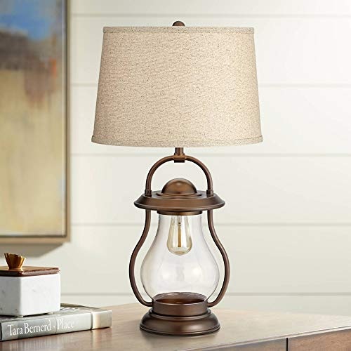 Fredrik Rustic Industrial Farmhouse Table Lamp With Nightlight Antique Edison Style LED Bronze Lantern Burlap Tapered Drum Shade For Living Room Bedroom Nightstand Office Franklin Iron Works 0