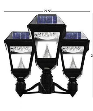 GAMA SONIC Imperial II Solar Light 3 Head Lamp 3 Post Fitter Mount Black GS 97NF3 0 300x360