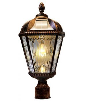 GAMA SONIC Royal Bulb Solar Lamp Post GS Solar Light Bulb Double Lamps Brushed Bronze GS 98B D BB 0 0 300x360